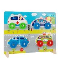 Imagine Puzzle din lemn  3 D cu masini reale