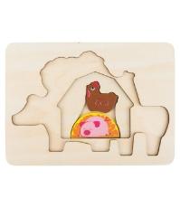 Imagine Puzzle din lemn  stratificat Animale la  ferma